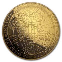 A világ új térképe 1812 1 uncia proof arany pénzérme - domború