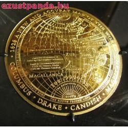 Világtérkép 1626 1 uncia proof arany pénzérme - domború
