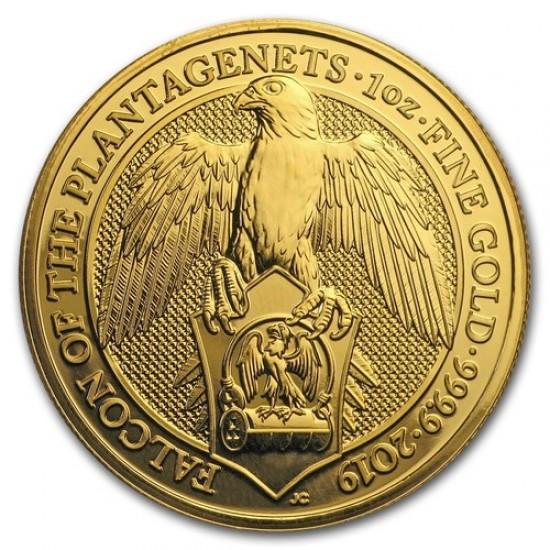 A királynő címerállatai - A Plantagenet-ek sólyma 2019 1 uncia 100 GBP arany pénzérme