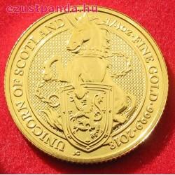 A királynő címerállatai - a skót Egyszarvú 2018 1/4 uncia 25 GBP arany pénzérme