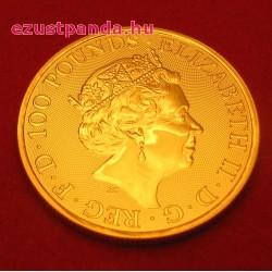 A királynő címerállatai - a skót Egyszarvú 2018 1 uncia 100 GBP arany pénzérme