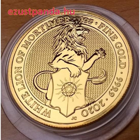 A királynő címerállatai - Mortimer fehér oroszlánja 2020 1 uncia 100 GBP arany pénzérme