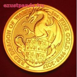 A királynő címerállatai - Wales-i Vörös Sárkány 2017 1/4 uncia 25 GBP arany pénzérme