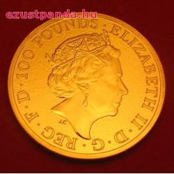 A királynő címerállatai - Wales-i Vörös Sárkány 2017 1 uncia 100 GBP arany pénzérme