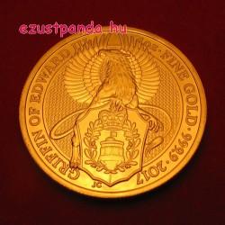 A királynő címerállatai - Griff 2017 1 uncia 100 GBP arany pénzérme