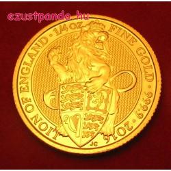 A királynő címerállatai - Oroszlán 2016 1/4 uncia 25 GBP arany pénzérme