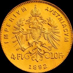 4 gulden osztrák arany pénzérme (mai utánveret)