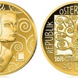 Klimt 2013 Erwartung/Várakozás 50 Euro proof arany pénzérme