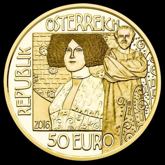 Klimt 2016 A csók (Der Kuss) 50 Euro proof arany pénzérme