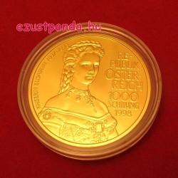 Erzsébet királyné (Sissi) 1998 1000 schilling proof arany pénzérme