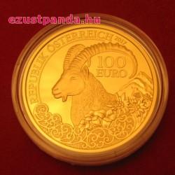 Kőszáli kecske / Steinbock 2017 100 Euro proof arany pénzérme