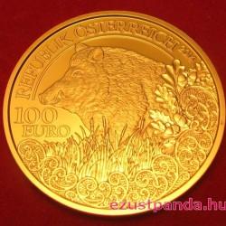 Vaddisznó / Wildschwein 2014 100 Euro proof arany pénzérme