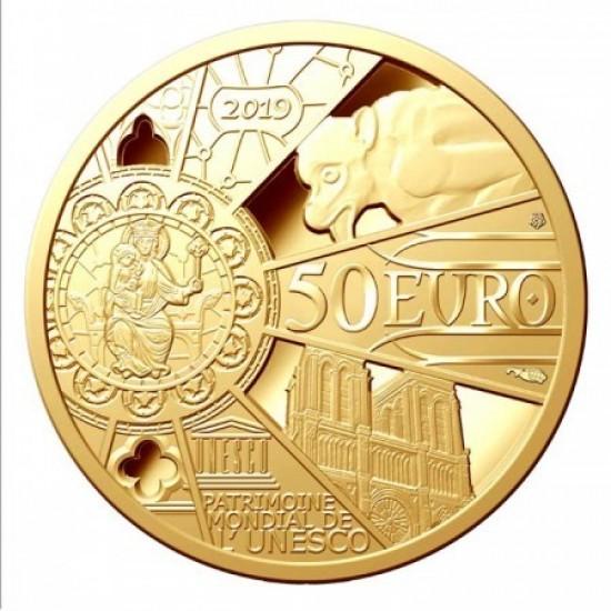 Notre Dame 2019 50 Euro proof arany pénzérme