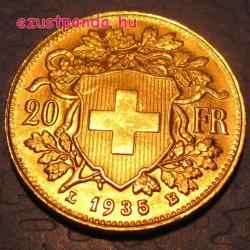 Vreneli 20 franc svájci arany pénzérme