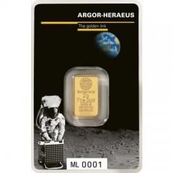 """Aranyrúd 2 gramm """"Holdraszállás"""" svájci Argor-Heraeus"""