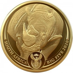 Big Five - Az Öt Nagy - Orrszarvú 2020 1 uncia proof arany pénzérme - CSAK 500 PÉLDÁNYBAN!