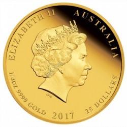 Lunar2 Kakas éve 2017 1/4 uncia proof arany pénzérme