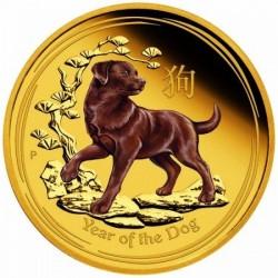 Lunar2 Kutya éve 2018 1 uncia színes proof arany pénzérme