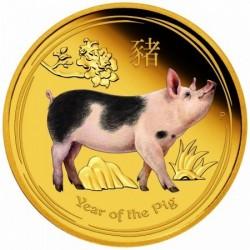 Lunar2 Disznó éve 2019 1 uncia színes proof arany pénzérme