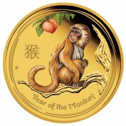 Lunar2 Majom éve 2016 1/10 uncia színezett proof arany pénzérme