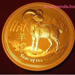 Lunar2 Kecske éve 2015 1 uncia arany pénzérme