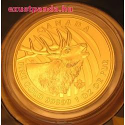 Bőgő szarvas 2017 1 uncia 99,999 kanadai arany pénzérme