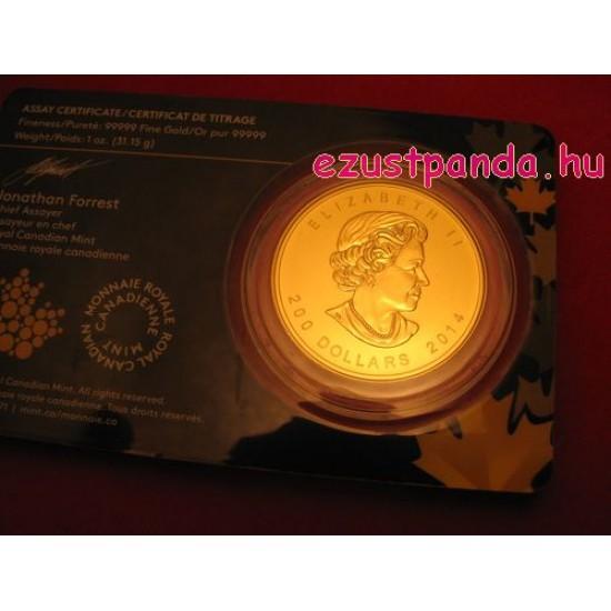 Üvöltő Farkas 2014 1 uncia 99,999 kanadai arany pénzérme