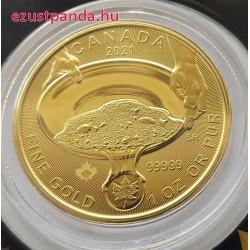 Aranyláz Klondike-ban 125 éve 1 uncia 99,999 kanadai arany pénzérme - ÖT KILENCES SZÍNARANY!