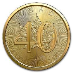 Maple Leaf 40. évforduló - 2019 1 uncia kanadai arany pénzérme
