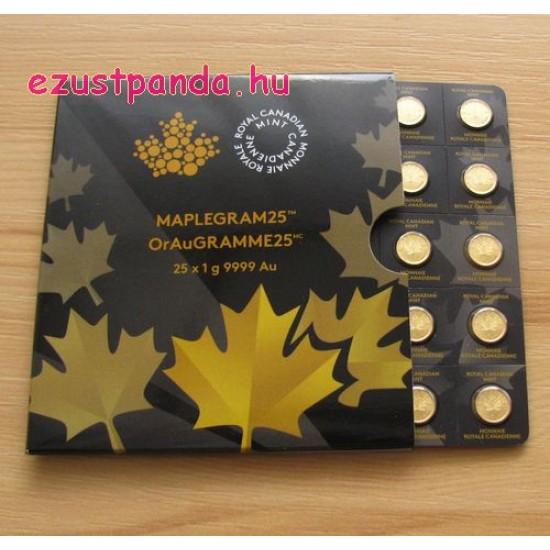 Maplegram kanadai 25x1g arany érmék