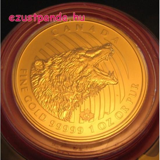 Ordító Grizzly 2016 1 uncia 99,999 kanadai arany pénzérme