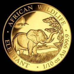 Szomália Elefánt 2019 1/10 uncia arany pénzérme