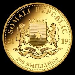 Szomália Elefánt 2019 1/4 uncia arany pénzérme