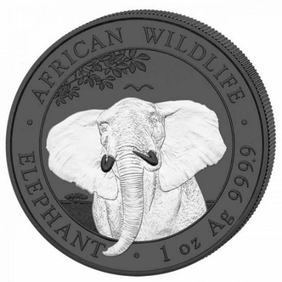"""Szomália Elefánt 2021 """"Fekete és Fehér"""" 2x1 uncia ruténiummal bevont ezüst érmeszett"""