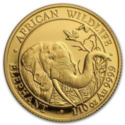 Szomália Elefánt 2018 1/10 uncia arany pénzérme