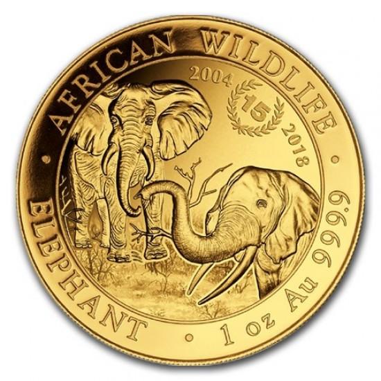 """Szomália Elefánt 2018 1 uncia arany pénzérme """"15 éves jubileum"""""""