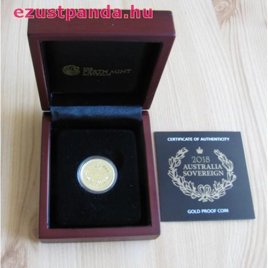 Ausztrál Sovereign 2018 proof arany pénzérme