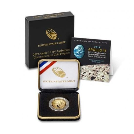 Apollo 11 USA 2019 proof arany pénzérme - domború