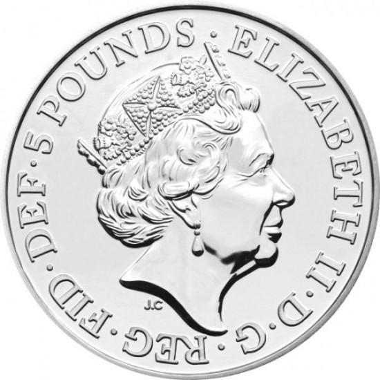 A Királynő címerállatai 2021 brit 5 font réz-nikkel pénzérme díszcsomagolásban