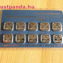 Palládium 10x1gramm Multicard Argor-Heraeus (svájci)