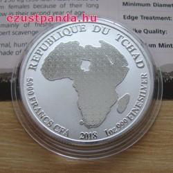 Oroszlán 2018 1 uncia ezüst pénzérme Csád