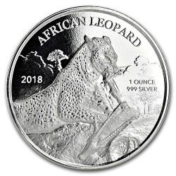 Leopárd 2018 1 uncia ezüst pénzérme Ghána