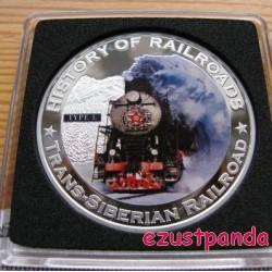 Vonatok Libéria - Transzszibériai Vasút 2011 színes proof ezüst pénzérme