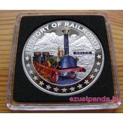 Vonatok Libéria - Adler 2011 színes proof ezüst pénzérme