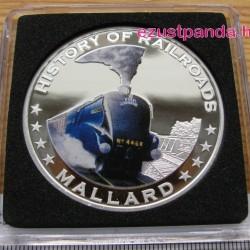 Vonatok Libéria - Mallard 2011 színes proof ezüst pénzérme