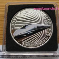 Vonatok Libéria - Shinkansen 2011 színes proof ezüst pénzérme
