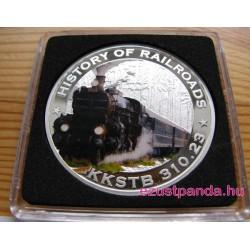 Vonatok Libéria - Monarchia KkStB 2011 színes proof ezüst pénzérme