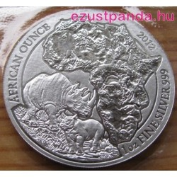 Ruanda Orrszarvú 2012 1 uncia ezüst pénzérme