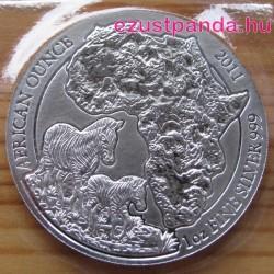 Ruanda Zebra 2011 1 uncia ezüst pénzérme