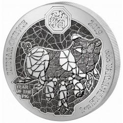 Ruanda Disznó éve 2019 1 uncia proof ezüst pénzérme